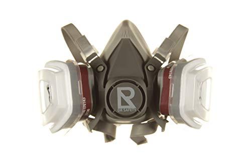 DR SAFETY Atemschutzmaske Grau I Individuell einstellbare Gasmaske mit Filter I Halbmaske mit doppeltem Filtersystem I Effektiver Atemschutz gegen Dämpfe & Gase I Staubmaske I Lackiermaske