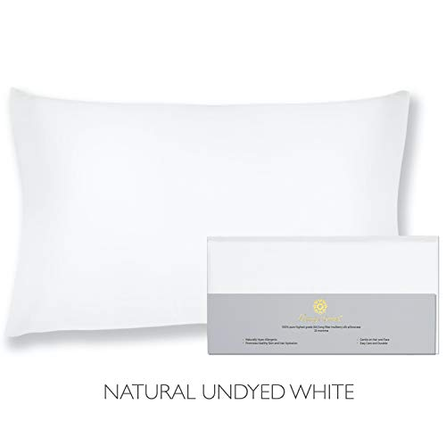 "Beauty of Orient - 25 Momme, 100% Pure Mulberry Silk Pillowcase for Hair and Skin, Natural Hypoallergenic Silk Pillow Case, Best for Beauty Body and Sleep (Standard - 20"" x 26"", Natural Undyed White)"