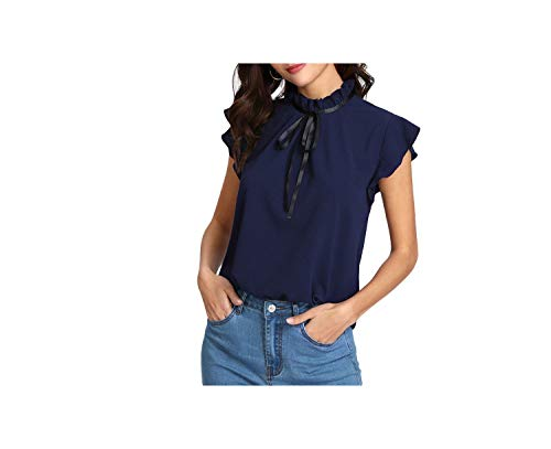 MOMOAAA Bow Tied Button Back Shirt Navy Stand Collar Sleeveless Women Blouse Spring Casual Work Blouse,Navy Blue,M