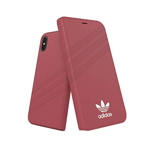 adidas Originals - Funda Tipo Libro para iPhone XS/X (Piel), Color Rosa