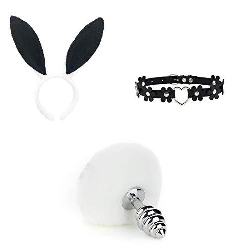 3 Piezas de Cola de Conejo de imitacin esponjosa B- ~ t`t Pl-`g T--ys y Diadema de Orejas de Felpa Disfraz Masaje Corporal Accesorios de Cosplay - L