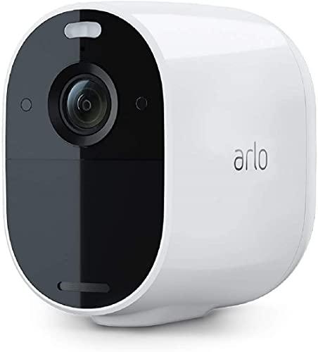 Arlo Essential Spotlight, Cámara vigilancia WiFi 1080p, detector de movimiento, visión nocturna en color, audio bidireccional, 180 días de batería, no necesita SmartHub, funciona con Alexa, Blanco