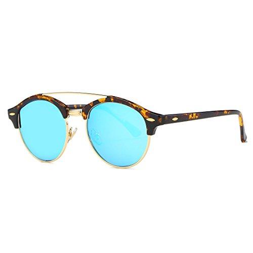 AEVOGUE Polarized Sunglasses Mens Semi-Rimless Retro Unisex Glasses AE0504 (Tortoise&Blue, 51)
