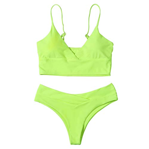 WDFVGEE - Conjunto de bikini sexy de 2 piezas con cuello en V para mujer con cintura alta y cintura alta