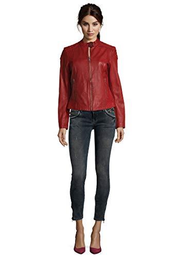 7eleven Damen Lederjacke Raffi in coolem Design red, XS/34