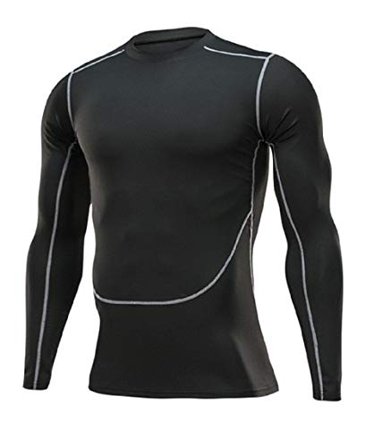 Ducomi Maglia Palestra Uomo a Manica Lunga a Compressione - Abbigliamento Sportivo Fitness - Maglia Sport per Allenamento Palestra Running, Corsa (Black, L)