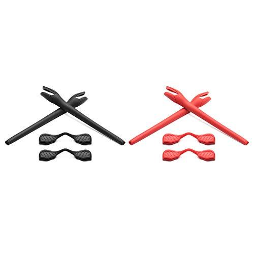 Montoz Juego de 2 almohadillas de repuesto para gafas de sol Oakley Radar EV, color negro y rojo