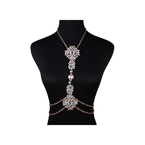 NXNP Collar del Cuerpo del arnés del Alambre del Colgante de Cristal de Las Mujeres