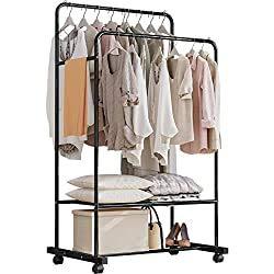 Solerconm Kleiderständer aus Metall, Garderobenständer mit abnehmbaren Haken, Kleiderschrank auf Rollen, für Kleidung und Lederwaren, Schwarz