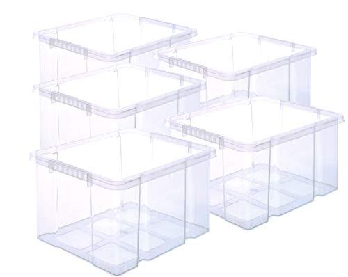 BigDean 5 Stück Stabile Kunststoffbox Eurobox Dreh Stapelbar 44x35x24cm passt in Kastenregale