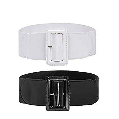 2 Pack Womens Belts Stretch Cinch Plus Dress Belts for ladies Black+White 4XL