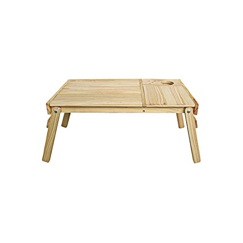 Laptop Desk Cart Natural Wood Folding Bed Desk - Sturdy Durable A Natural Colour Wood Veneer Finish To Complement Any Décor - Foldable Quick Easy Use No Assembly Required 60x35 X 28cm- Wood Color Comp