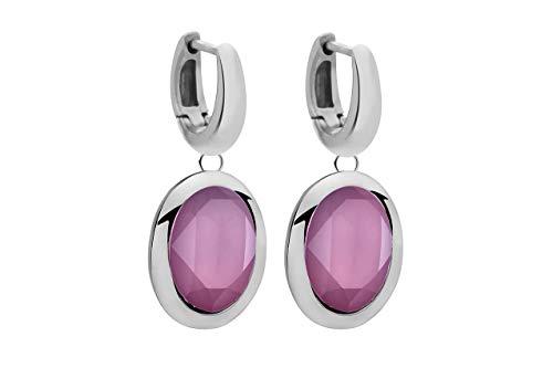 Qudo TIVOLA Pendientes de aro de acero inoxidable con cristales de cristal, Acero inoxidable,