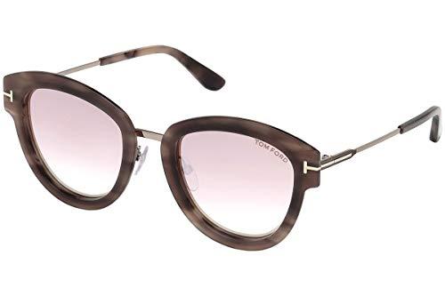Tom Ford MIA-02 FT-574 55Z Women Pink Havana Rounded Cat-Eye Mirrored Sunglasses