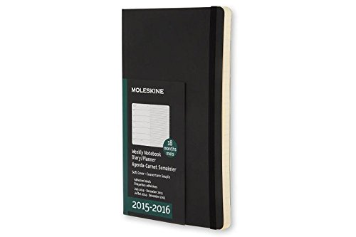 Moleskine 2015-2016 Weekly Notebook, 18M, Large, Black, Soft Cover (5 x 8.25)