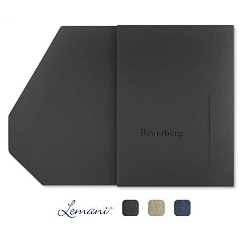 4 Stück 4-teilige Bewerbungsmappen Lemani® PREMIUM in 'dark grey' mit 2 Klemmschienen - Premium-Qualität mit feiner Tweed-Struktur, unverwechselbarer Haptik und hochwertiger Prägung 'Bewerbung'
