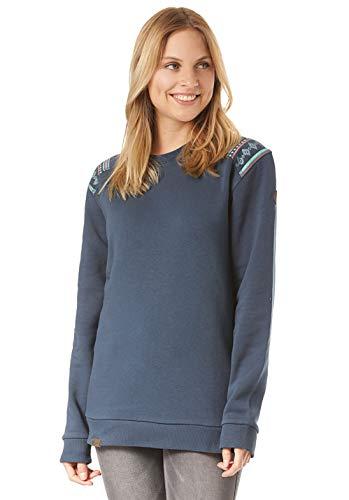 Lakeville Mountain Damen Sweatshirt LUVUA Ethno mit Schulterprint | Langarm Oberteil mit Rundhals-Ausschnitt | Frauen Sommer Pullover Tunika Tops | Blau, S