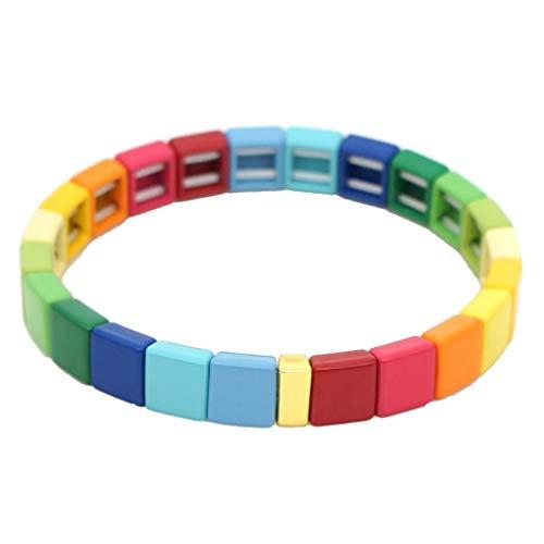 Happyyami Emaille Fliesen Armband Stapelbar Elastische Stretch Armband Regenbogen Stolz Armband für Regenbogen Thema Party Lgbt Lgbtq Lesben Homosexuell Stolz Party Begünstigt Lieferungen