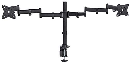 Mount-It! Dual Ultrawide Monitor Arm Mount | Desk Stand | Two Full Motion Articulating Adjustable | Fits 2 x 30 31 32 34 36 38 Inch VESA 75 100 Compatible Computer Screens | C-Clamp and Grommet Bases