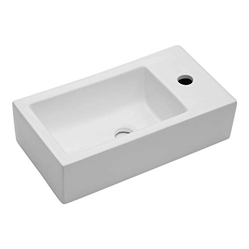 Learn More About Lordear LGP1810 Bathroom Wall Mount Rectangle Corner Sink White Porcelain Ceramic V...