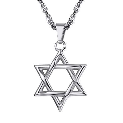 PROSTEEL Magen David Stern Anhänger Halskette Edelstahl Judentums Davidstern Modeschmuck, Silber