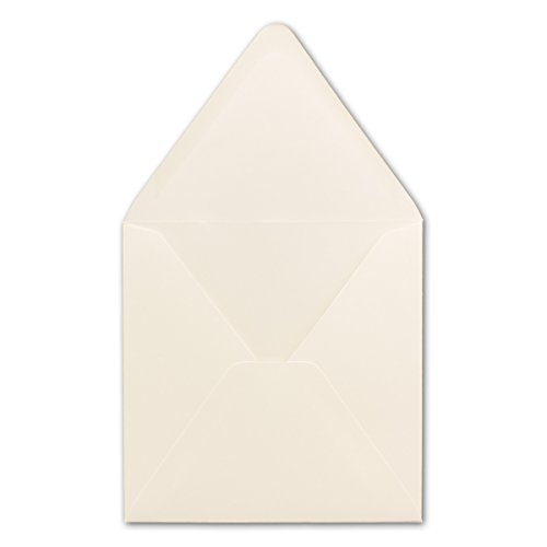 50 Quadratische Briefumschläge Creme 15,0 x 15,0 cm 120 g/m² Nassklebung Post-Umschläge ohne Fenster ideal für Weihnachten Grußkarten Einladungen von Ihrem Glüxx-Agent