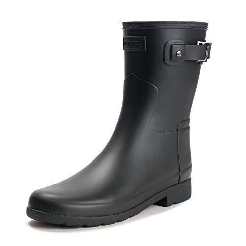 Womens Hunter Original Refined Short Winter Snow Waterproof Rain Boots - Black - 6
