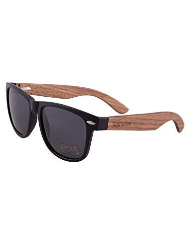 nobrand Holz Sonnenbrille für Herren Damen/Polarisierte Sonnenbrille mit UV-Schutz/Sonnenbrille mit Holzbügeln (Grau)