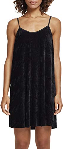 Urban Classics Damen Kleid Ladies Velvet Slip Dress, Schwarz (Black 00007), X-Large