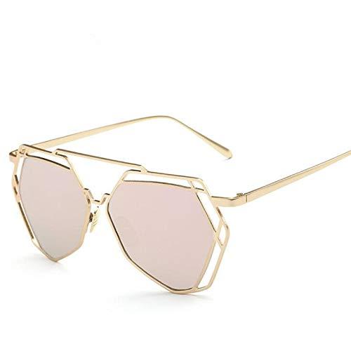 Secuos Mode Sonnenbrillen Damen Markendesigner Big Frame Polygon Antireflexglas Sonnenbrille Herren Vintage Sonnenbrille Hexagon Metallrahmen Pink