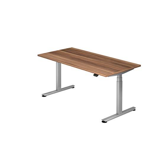 Hammerbacher Schreibtisch, elektrisch höhenverstellbar, Breite 1600 mm, Tischplatte Zwetschge |...