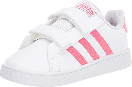 adidas Kids' Grand Court K Sneaker, FTWR White/Real Pink/FTWR White, 3K M US Little Kid