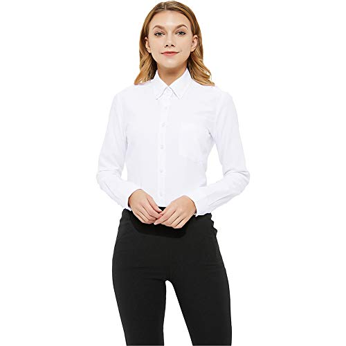 MGWDT White Button Down Shirt Women Long Sleeve Blouse Oxford Shirt Classic-Fit Cotton Tops Wrinkle Resistant Large