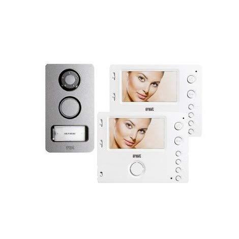 Urmet Kit de videoportero de 2 cables bifamiliar, pantalla Miro de 4,3 pulgadas a color OSD + botón Mikra de apoyo pared con cámara CCD 1722/84