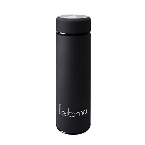 SCHWARZE THERMOSFLASCHE - doppelwandig mit TEESIEB 0,5l (500ml) EDELSTAHL gummiert - GUMMI beschichtet KLEIN & handliche TRINK-FLASCHE   Reise Isolier-Kanne   auch für BABYs & KINDER   BPA frei