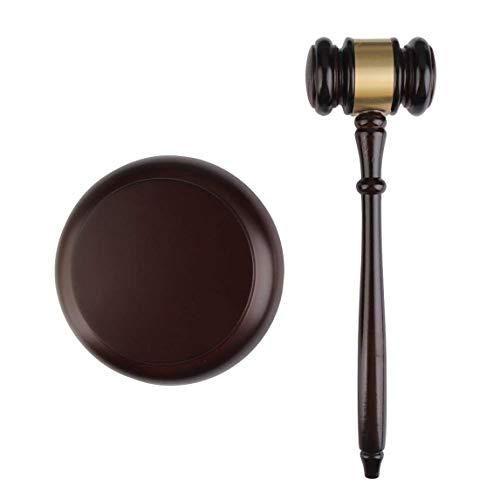 ALONGB Martillo de subasta de mazo con Bloque de Sonido de Madera para el Juez Juez Trabajo Manual de subasta