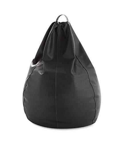 textil-home Puf - Pera moldeable XXL Puff - 90x90x135 cm- Color Negro. Tejido Polipiel Alta Resistencia - Doble repunte - (Incluye Relleno Bolas Poliestireno) - 320 litros Capacidad.
