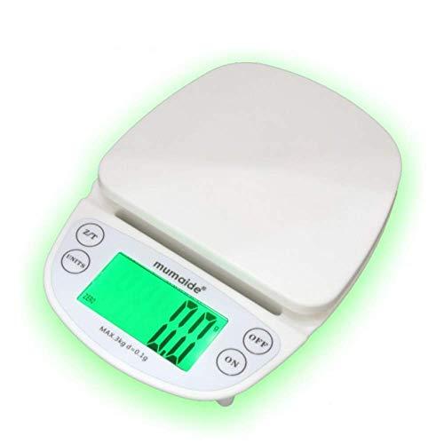 Jackchen keukenweegschaal, wit, antislip, hangende keuken, zeer nauwkeurige huishoudbak, elektronische schaal, 3 kg/0,1 g