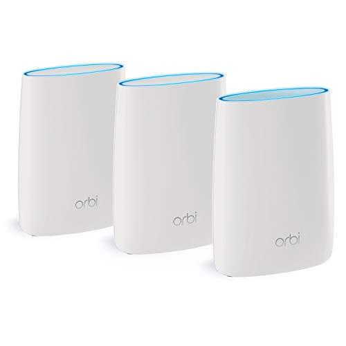 Netgear Orbi RBK53-100PES AC3000 Tri-band Mesh WLAN System (bis zu 525 m2 und kompatibel mit Alexa) weiß matt