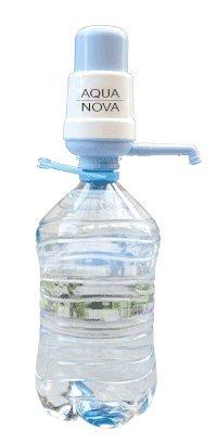 Dispensador de agua manual para garrafas – bomba compatible con botellas (PET) de 3, 5, 6, 8 y 10 litros – GARANTIA AQUANOVA - diámetro 48 mm, incluye adaptador de 38 mm – Con certificado de calidad ISO 9001: 2000