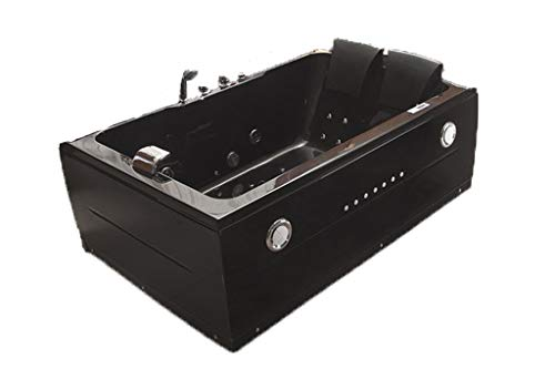 SDI Factory Direct 2 Person Indoor Black Jetted Hot Tub SPA Hydrotherapy Massage Bathtub w/Bluetooth Model 51A Black