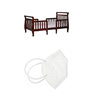 Dream On Me Emma 3 in 1 Convertible Toddler Bed in Espresso, Greenguard Gold Certified & Dream On Me Disposable Face Mask I Pack of 10