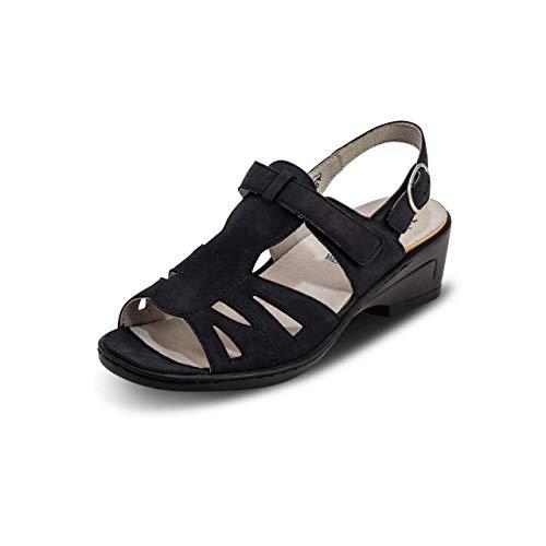 VITAFORM® Damen Sandale Echt Leder Weite H Für Normale Bis Kräftigere Füße (Marine, Numeric_37)