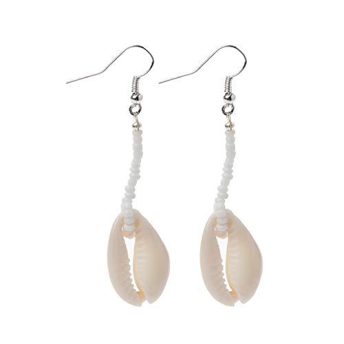 WANG PEI - Pendientes de gota con diseño de concha de cowrie natural, joyería de playa para mujer A