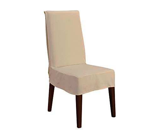 SureFit Short Dining Chair Slipcover Duck-Up to 42 Inches Tall-Machine Washable-100% Cotton, Tan