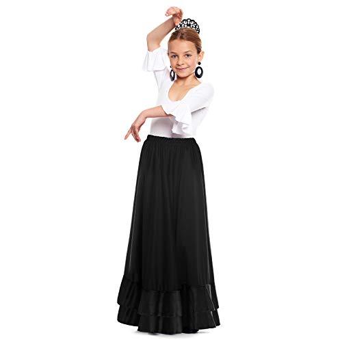 Falda Flamenco Niña Negra Volante Doble [Tallas Infantiles 2 a 12 años]【Talla 6 años】 Ensayo Baile Danza Disfraz