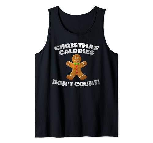 Natale Calorie Non Contare Gingerbread Man Cookie Natale Canotta
