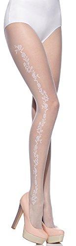 Merry Style Damen Strumpfhose Hochzeitsstrumpfhose MS304 20 DEN(Bianco-308, L (40-44))