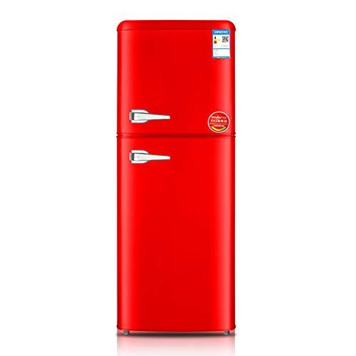 YKHOME Independiente 158L A++ Acero Inoxidable Nevera y congelador, Acero Inoxidable,2 Puertas,Rojo