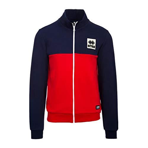 Errea Felpa Uomo Blu Rosso Bicolor con Zip e Patch R20G0C1910 XS